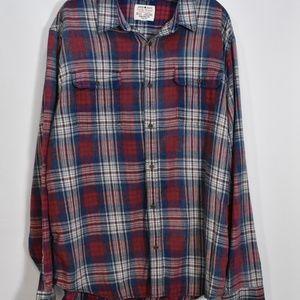 Lucky Brand True Indigo Plaid Flannel Shirt L